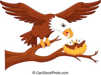 cute eagle cartoon up tree with smile