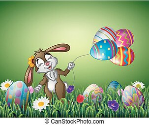 Cute easter bunny holding an Easter egg balloon in a field