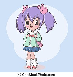 Vector Illustration of Cute elementary school girl with bag