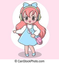 Cute elementary school girl with bag