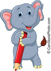 Cute elephant cartoon holding red p