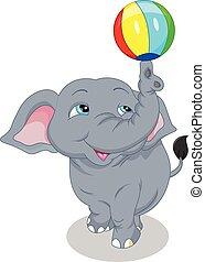 cute elephant cartoon playing ball