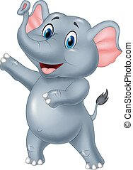 Cute elephant cartoon presenting