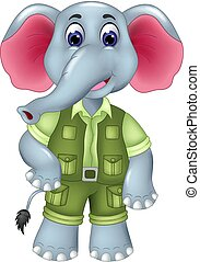 cute elephant cartoon standing with smiling