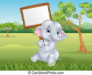 Cute elephant holding blank sign