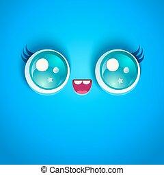 Kawaii face with eyes.