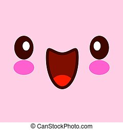 Vector illustration of cute face. Kawaii face with eyes. isolated on pink background EPS