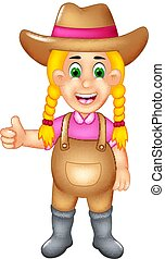 cute farmer cartoon standing with smile and thumb up