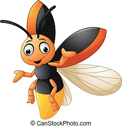 Cute firefly cartoon waving - Vector illustration of Cute...