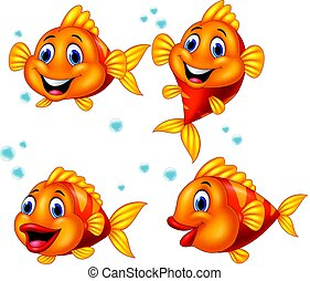 Cute fish cartoon collection set