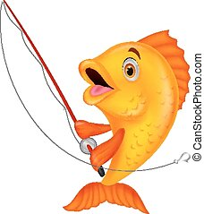 Cute fish cartoon holding fishing r