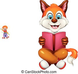 cute fox cartoon sitting with smile and reading book