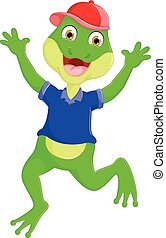 cute frog cartoon jump with laughing and waving