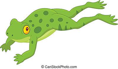 Cute frog cartoon jumping