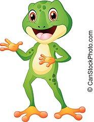Cute frog cartoon posing