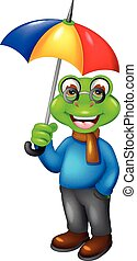 cute frog cartoon under umbrella with laughing