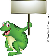 cute frog cartoon with blank sign