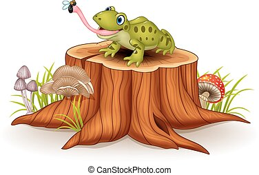 Cute frog catching fly on tree stum - Vector illustration of...