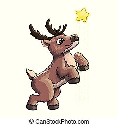 Vector Illustration of Cute Funny Baby Deer Cartoon