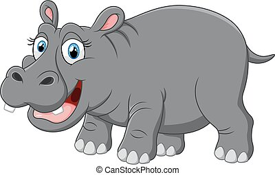 Cute funny hippo - vector illustration of Cute funny hippo