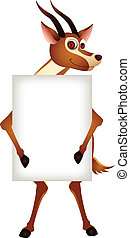 gazelle with blank sign - vector illustration of cute...