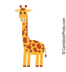 Vector illustration of cute giraffe cartoon on white background