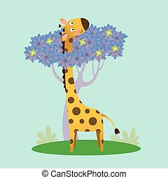 Vector illustration of cute giraffe standing with the tree.