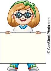 Cute girl cartoon holding blank sign