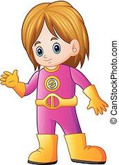 Cute girl cartoon in superhero costume waving