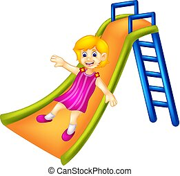 cute girl cartoon playing slide with smile and waving