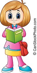 Cute girl cartoon reading a book
