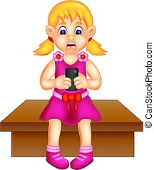 cute girl cartoon sitting with playing smartphone