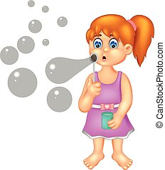 cute girl cartoon standing with smile and play soap bubble