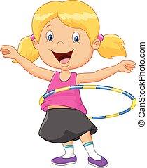 Cute girl cartoon twirling hula ho - Vector illustration of...