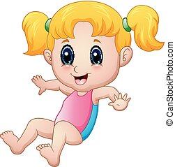 Cute girl cartoon wearing a pink bathing suit - Vector...
