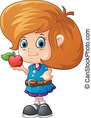 cute girl holding apple