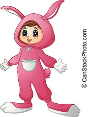 Cute girl in a pink bunny costume
