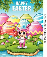 Cute girl wearing a pink bunny costume juggling Easter eggs in the woods near the river