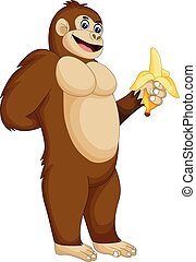 cute gorilla cartoon standing with smile and eating banana