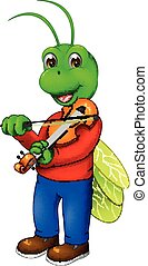 cute grasshopper cartoon standing with smile and play violin