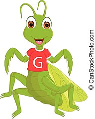 vector illustration of cute grasshopper cartoon standing with smile and waving