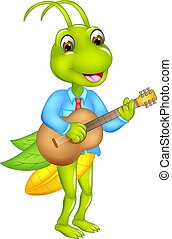 cute grasshopper cartoon standinng playing guitar with laughing