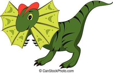 cute green ancient dinosaur cartoon standing with smile and waving