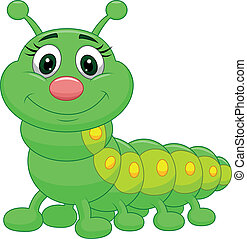 Cute green caterpillar cartoon - Vector illustration of Cute...