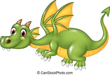 Cute green dragon flying. isolated
