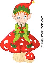 Cute green elf sitting on mushroom - Vector illustration of...
