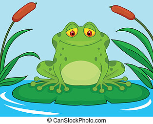 Cute green frog cartoon on a lily p - Vector illustration of...