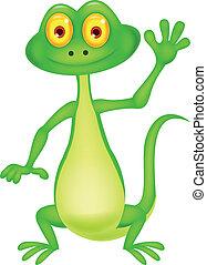 Cute green lizard cartoon waving ha