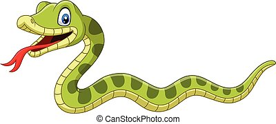 Cute green snake cartoon on white background