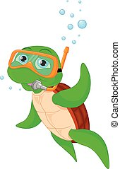 cute green turtle cartoon - vector illustration of cute...